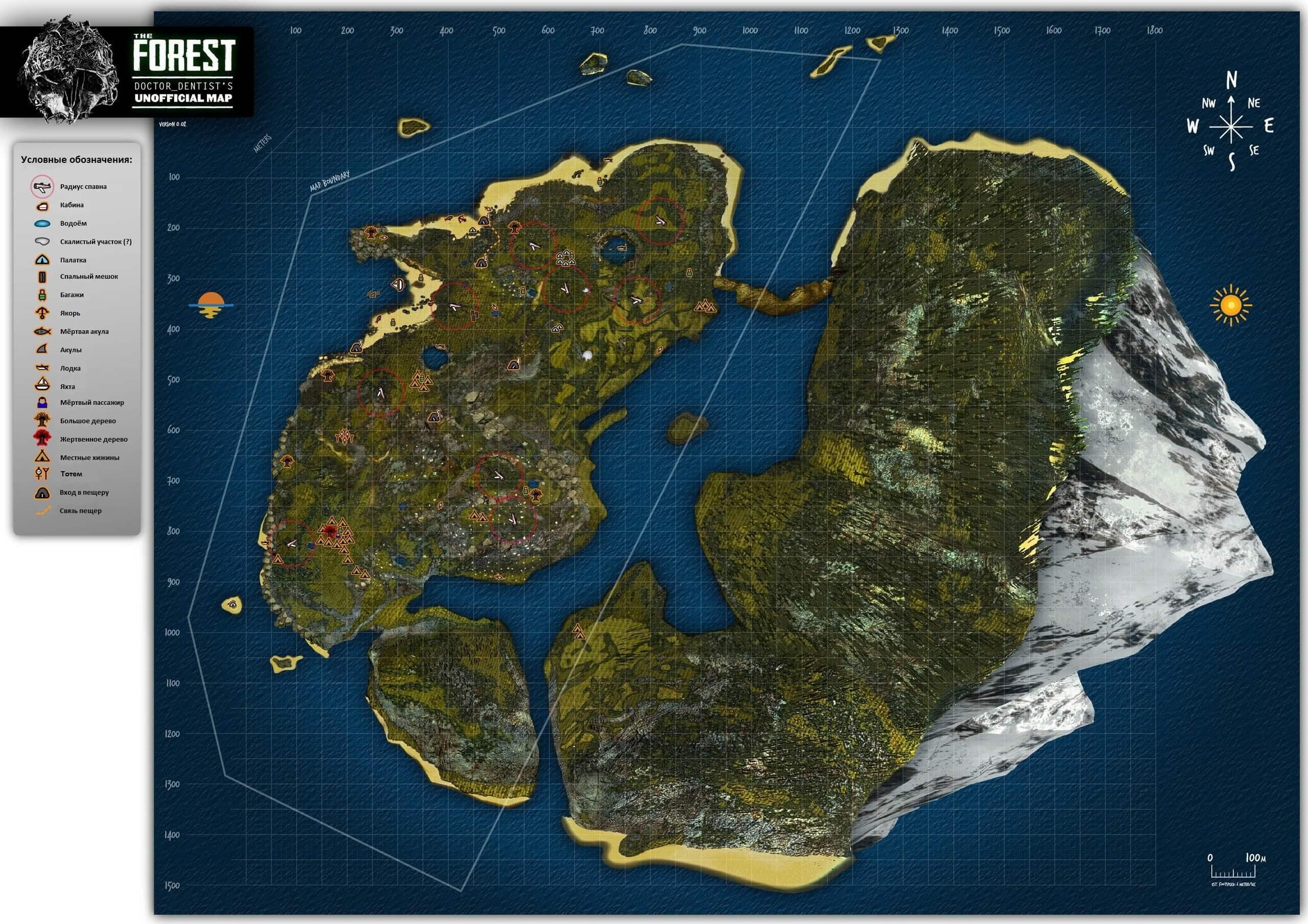 Карта острова The Forest